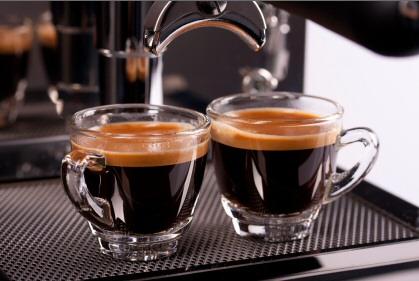 Double espresso coffee shot